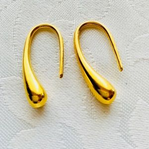 925 Sterling Silver Gold Plated Tear Drop Earrings